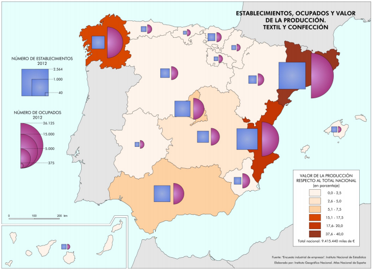 Mapa de distribución del textil en España