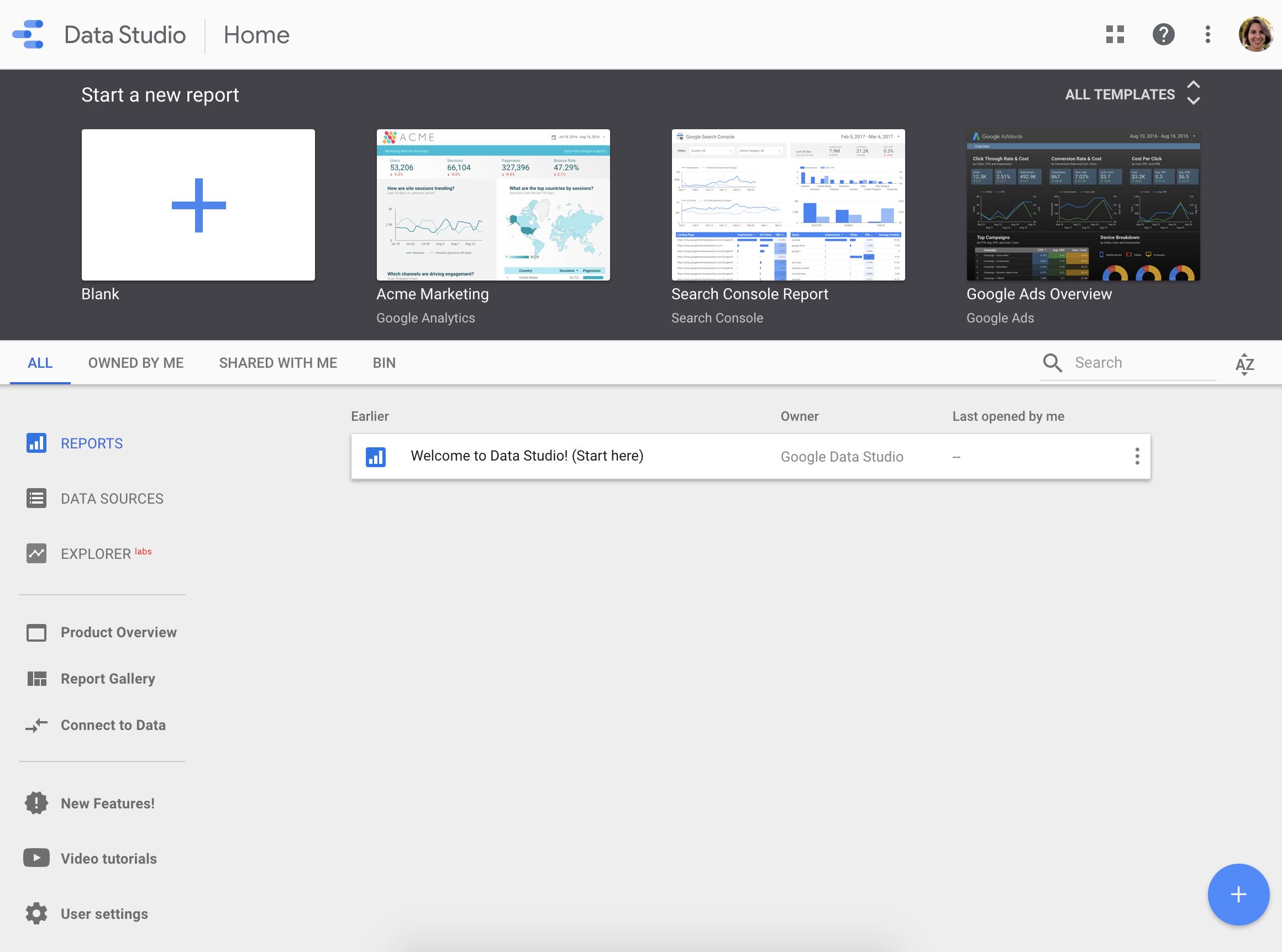 datastudio user interface